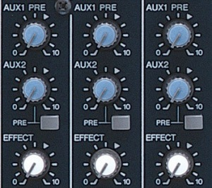 Cada canal tiene un potenciómetro de nivel de efecto (debajo de los auxiliares) que determina el nivel de señal que está mandado a los multi-efectos de la mezcladora.